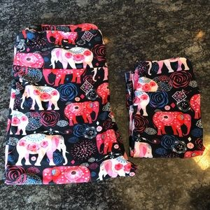 Mommy & Me LuLaRoe leggings! Pink elephants